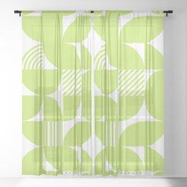 Lime Green Mid Century Bauhaus Semi Circle Pattern Sheer Curtain