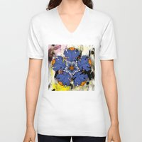 baroque V-neck T-shirts featuring Baroque Flower by FakeFred