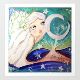 moon shine in pastel Art Print