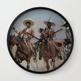 """Frederic Remington Western Art """"Mexican Riders"""" Wall Clock"""