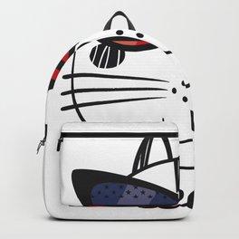Merica Memorial Day Cat Funny American Flag Backpack