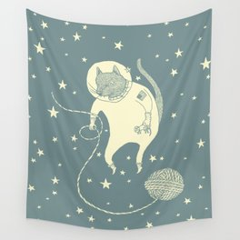 Sleepy Blue Space Cat Proves String Theory Wall Tapestry
