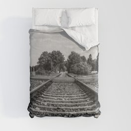 Black and white railway Comforters