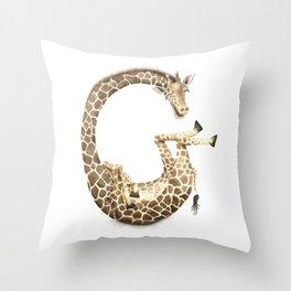 G is for Giraffe - ABC Letter G from Laugh-a-Bit Alphabet series by BirdsFlyOver Throw Pillow