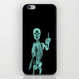 X-ray Bird / X-rayed skeleton demonstrating international hand gesture iPhone Skin