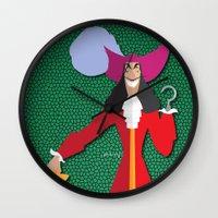 captain hook Wall Clocks featuring Captain Hook by AmadeuxArt