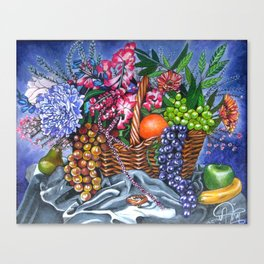 Plastic Fruits and Flowers Canvas Print