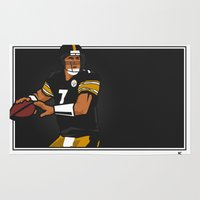steelers Area & Throw Rugs featuring Big Ben - Steelers QB by lockerroom51