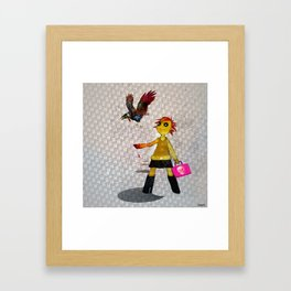 Miss Bella and Archibald his crow Framed Art Print
