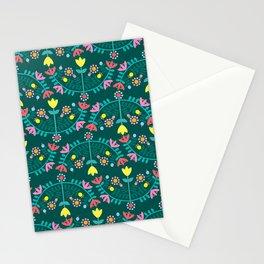 Folk Flowers Green Stationery Cards