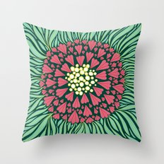Pink and green florals Throw Pillow