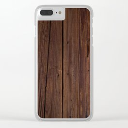 Rustic Dark Brown Wood Photography Clear iPhone Case