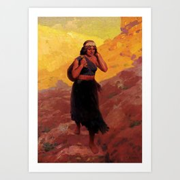 "Western Art Vintage ""Hopi Water Carrier"" Art Print"
