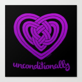 UNCONDITIONALLY in purple on black Canvas Print