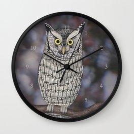 eastern screech owl on a branch Wall Clock