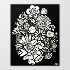 Flowers On The Wall Black & White Edition Canvas Print