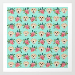Yellow Labrador Retriever floral bouquet flowers yellow lab dog breed pattern gifts Art Print