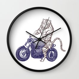 Tiger on a Motorcycle Wall Clock