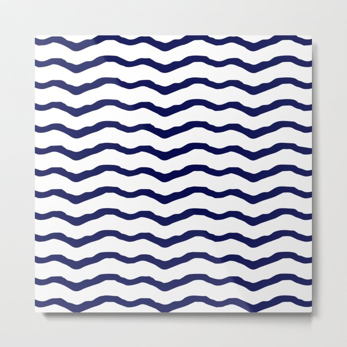 Maritime pattern- dark blue waves lines ond white  background Metal Print