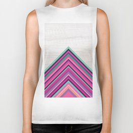 Wood and Bright Stripes, Chevron - Geometric Design Biker Tank
