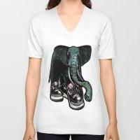 sneaker V-neck T-shirts featuring SNEAKER ELEPHANT by Juan Diaz