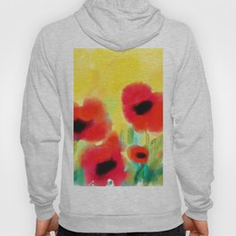 Red poppies - original design by ArtStudio29 - red flowers on yellow background Hoody