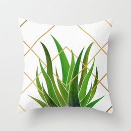 Emerald Succulent with Metallic Gold Diamonds Throw Pillow