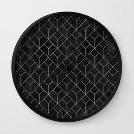 White Art Deco pattern on black ink Wall Clock