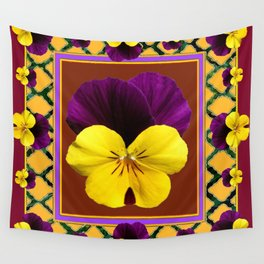 MAROON PURPLE & YELLOW SPRING PANSIES  GARDEN Wall Tapestry