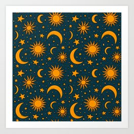 Vintage Sun and Star Print in Navy Art Print
