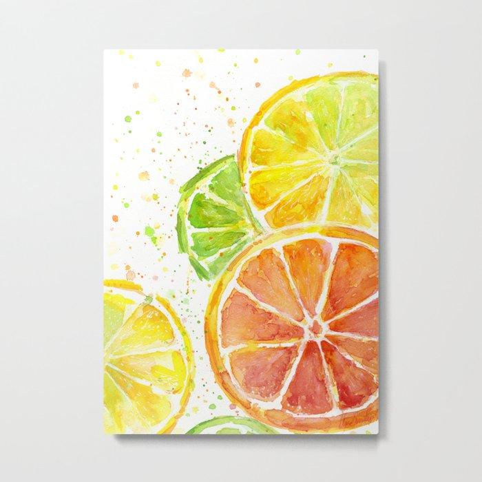 Fruit Watercolor Citrus Metal Print