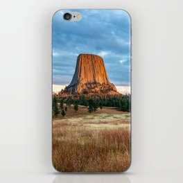 Devils Tower - Giant Monolith Drenched in Sunlight on Autumn Day in Wyoming iPhone Skin