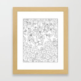 Hummingbirds and Flowers Coloring Page Framed Art Print