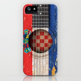 Old Vintage Acoustic Guitar with Croatian Flag iPhone Case