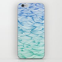 waves iPhone & iPod Skins featuring Ombré Waves by Cat Coquillette