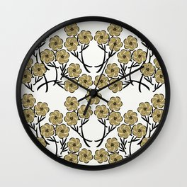 Tan Flowers Wall Clock