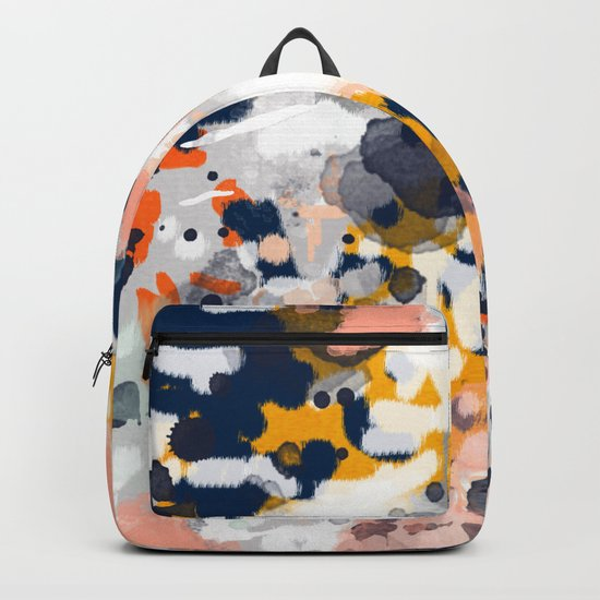 Stella II - Abstract painting in modern fresh colors navy, orange, pink, cream, white, and gold Backpack