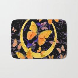 BLACK & YELLOW BUTTERFLIES VIGNETTE ABSTRACT ART Bath Mat