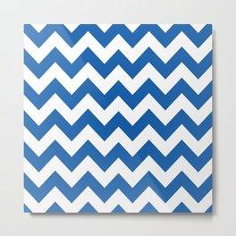 Denim Blue Bold Chevron Metal Print