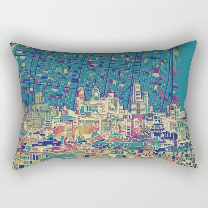 philadelphia city skyline map Rectangular Pillow