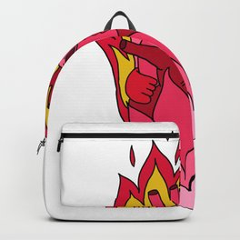 flaming love heart pink heart flames Backpack