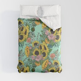 Trendy yellow sunflowers and pink roses mint design Comforters