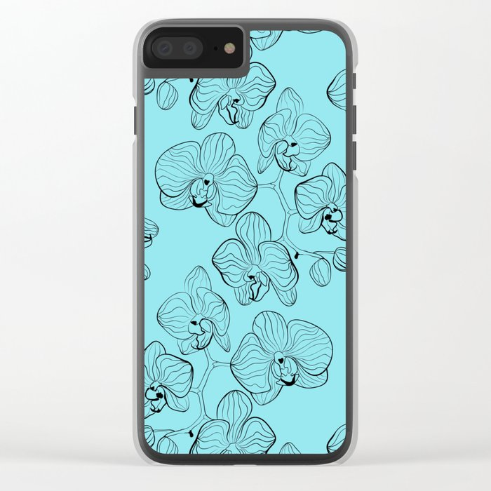 Retro . Orchid flowers on a heavenly blue background . Clear iPhone Case