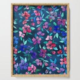 Southern Summer Floral - navy + colors Serving Tray