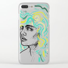 Blue-haired girl Clear iPhone Case