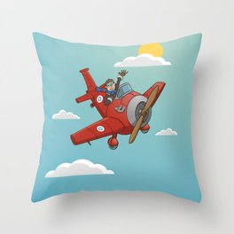 Cartoon style airplane on blue sky Throw Pillow