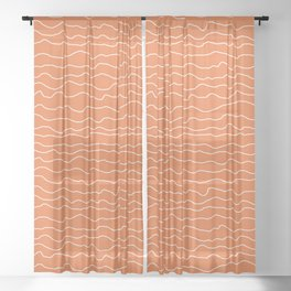 Orange with White Squiggly Lines Sheer Curtain
