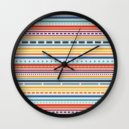 Multicolored lines and dots Wall Clock
