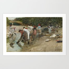 Francisco Pradilla Ortiz,  Galician Washerwomen 1887 Art Print