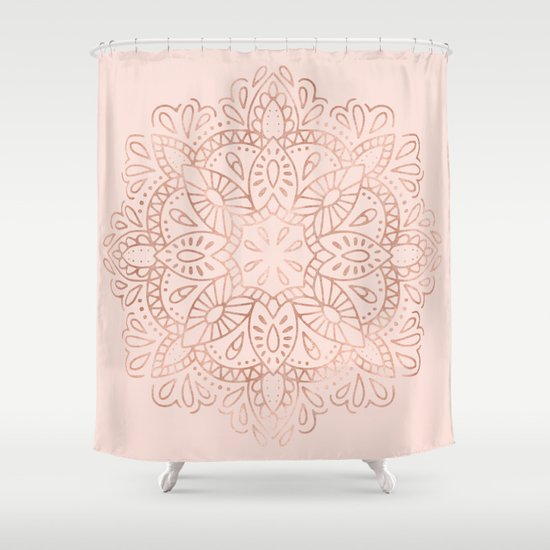 Mandala Rose Gold Pink Shimmer On Blush Pink Shower Curtain By Nature Magick